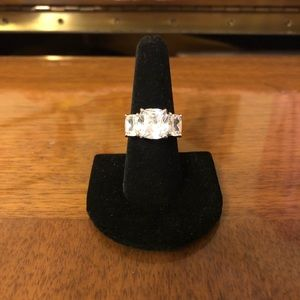 Women's size 8 sterling silver ring with CZ stones